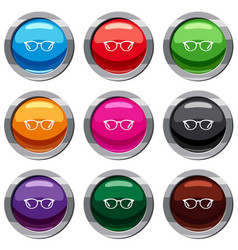 glasses set 9 collection vector image