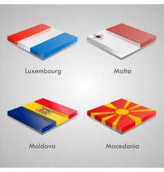 Glossy bricks buttons with european country flags vector