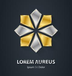 Gold and Silver star logo Award 3d icon Metallic vector image vector image
