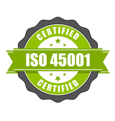 Iso 45001 standard certificate badge - health vector