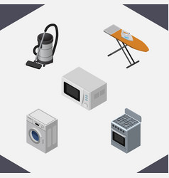 Isometric electronics set of stove cloth iron vector
