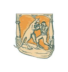 Kangaroo boxing man etching vector