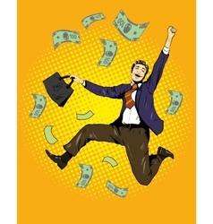 Man dancing with money flying around vector