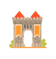 Medieval gate and two guard towers ancient vector