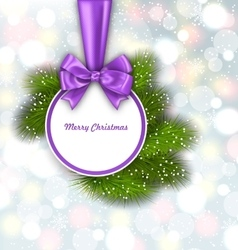 Merry Christmas Elegant Card with Bow Ribbon vector image vector image