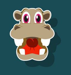 realistic paper sticker on theme funny animal vector image