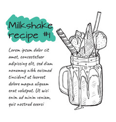 recipe of milkshake n1 smoothie with candys ice vector image vector image