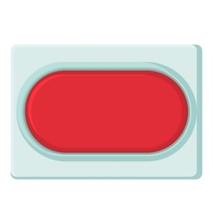 Red rectangular button icon cartoon style vector image vector image