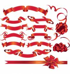 Red ribbons vector