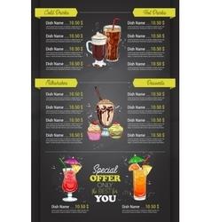 Restaurant vertical color cocktail menu vector image vector image