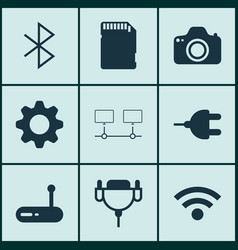Set of 9 computer hardware icons includes camera vector