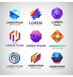 set of abstract 3d logos icons design vector image vector image