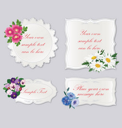 Set of cute frame with flowers holiday floral vector