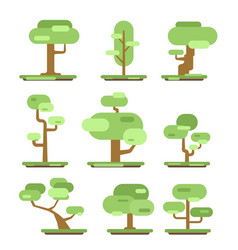 set of different trees sprites for the game vector image