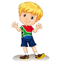 South Africa boy waving and smiling vector image vector image