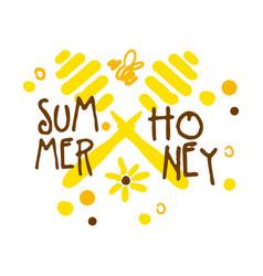 summer honey logo colorful hand drawn vector image vector image