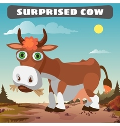 Surprised cow character from wild west series vector