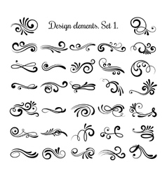 Swirly line curl patterns isolated on white vector image vector image