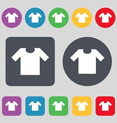 T-shirt icon sign a set of 12 colored buttons flat vector