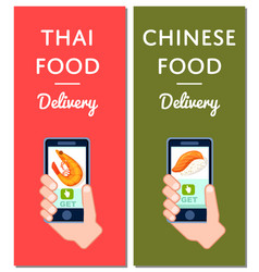 Thai and chinese fast food delivery flyers vector