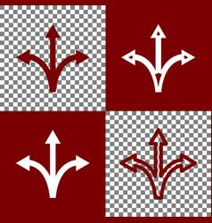 Three-way direction arrow sign bordo and vector