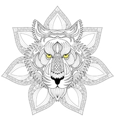 Tiger Zentangle Tiger face on mandala vector image vector image