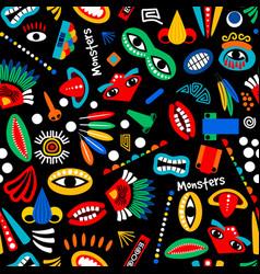 Tribal monster seamless pattern vector