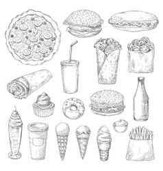 Unhealthy fast food isolated sketches vector