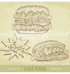 vintage fast food vector image