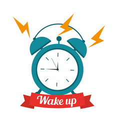 Wake up clock alarm banner vector