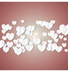 White paper hearts Valentines day card on vector image