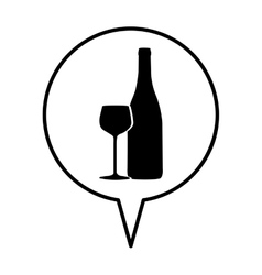 Wine bottle and glass icon image vector