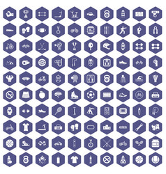 100 sport icons hexagon purple vector image vector image