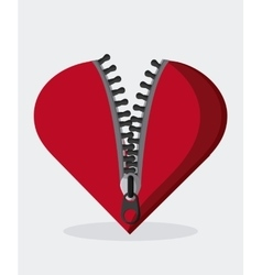 Zip zipper heart cloth metal teeth icon vector