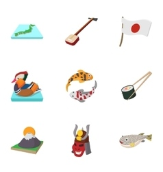 Country japan icons set cartoon style vector