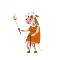 Funny picture cow photographer mamal person take vector