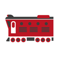 Cargo carriage locomotive icon isolated on white vector