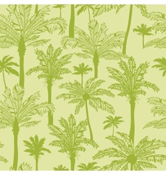 Green palm trees seamless pattern background vector