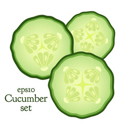 Set of cucumber and slices made in flat style vector