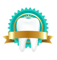 tooth with label vector image