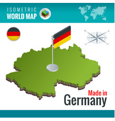 Isometric map and flag of the germany or vector