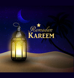 Lanterns stands in the desert at night sky vector
