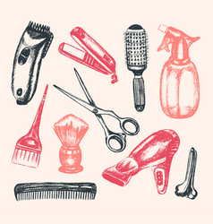 Barber equipment - of hand drawn vector