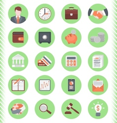Financial and business icons green set vector