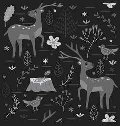 seamless pattern forest with deer black and white vector image