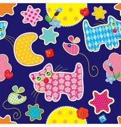 Seamless pattern - sweet dreams - cat mouse stars vector