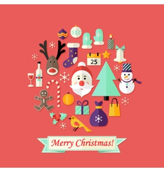 Christmas card with flat icons set and santa claus vector