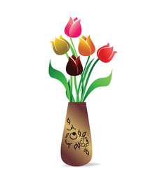vase with tulips vector image