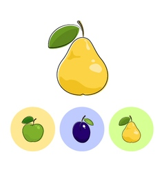 Fruit icons pear plum apple vector