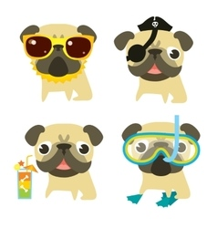 Funny pugs in different situations vector